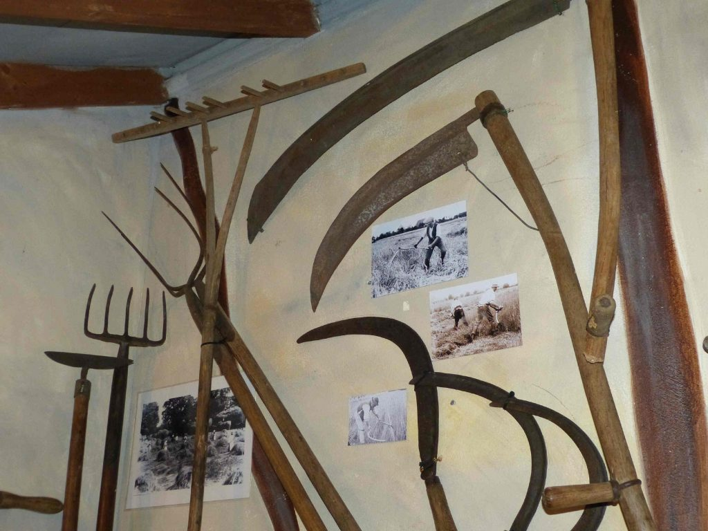 Agricultural implements in a barn
